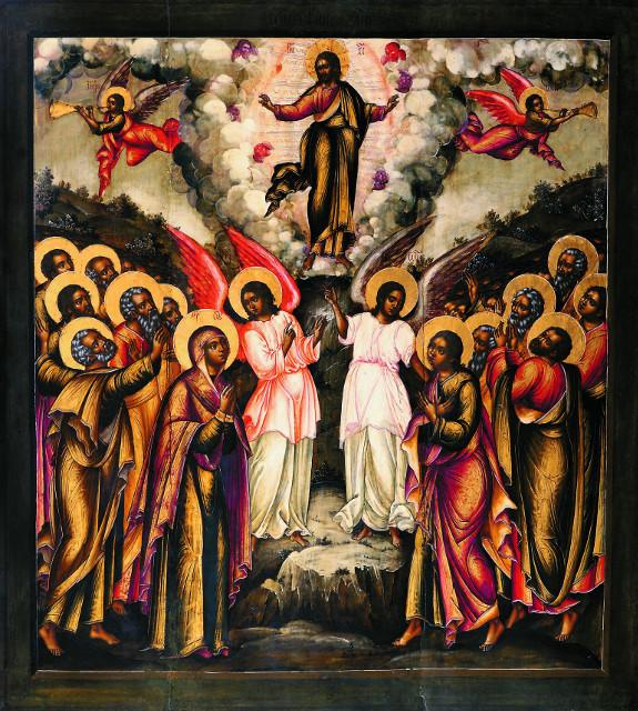 """Икона """"Вознесение Господне""""  из  праздничного ряда иконостаса Вознесенского собора, мастера Оружейной палаты, около 1679 г."""