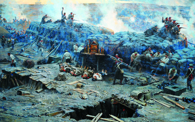 Оборона Севастополя. Ф.А. Рубо.  Фрагмент панорамы