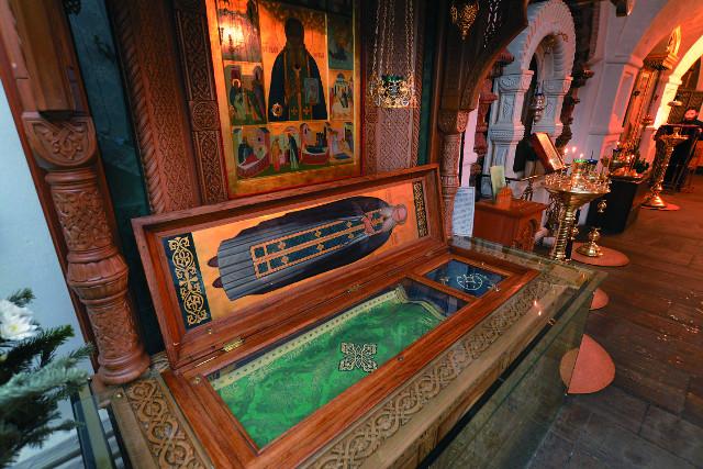 Рака с мощами преподобного Аристоклия пребывает в Ольгинском приделе храма святого великомученика Никиты на Швивой горке