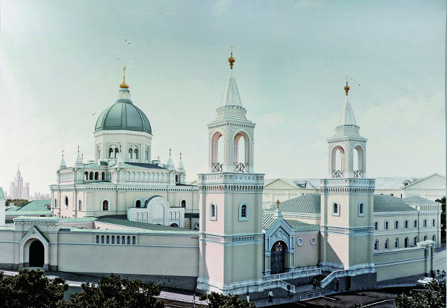 Так выглядел монастырь в годы его освящения, в 1879 году, со стороны Владимирской  церкви