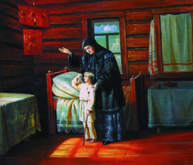 Чудо исцеления десятилетнего Алеши по молитвам материя к святителю Николаю. Художник Прибытков, 1894