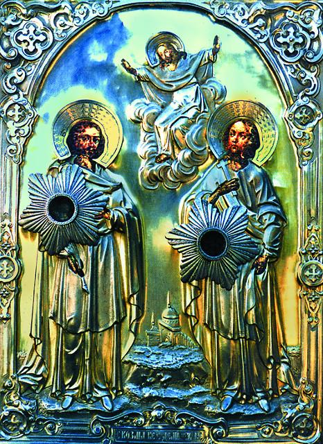 Икона святых бессребрянников и чудотворцев Косьмы и Дамиана