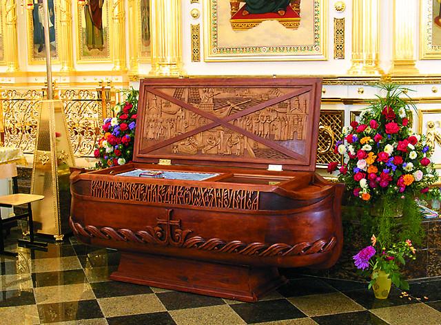 Рака с мощами святого Феодора Ушакова в виде корабля