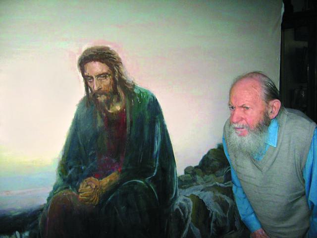 """Копия картины И. Крамского """"Христос в пустыне"""" - последняя  работа отца Герасима"""