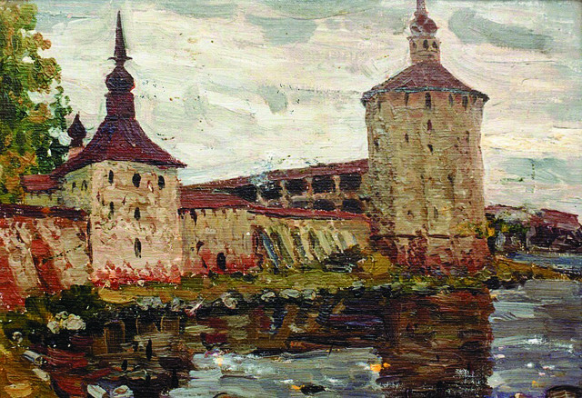 Кирилло-Белозерский монастырь. Авторская работа, масло на картоне