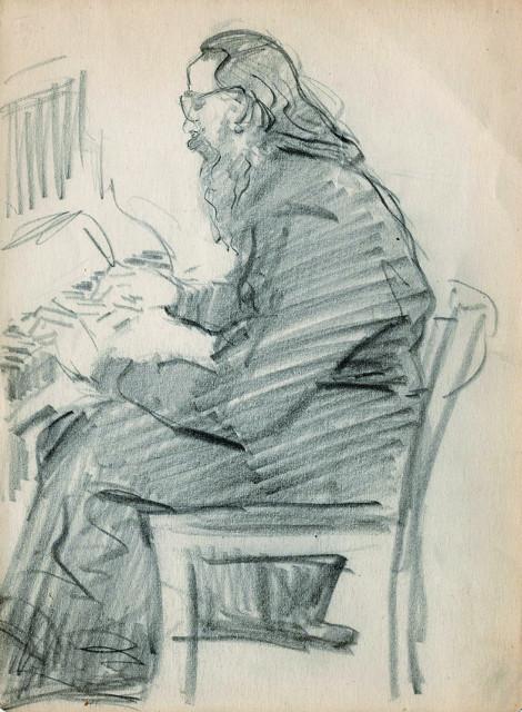 Карандашный  набросок к портрету отца Алипия (Воронова)