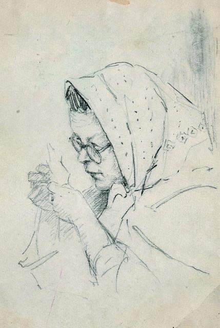 Карандашный набросок к портрету женщины