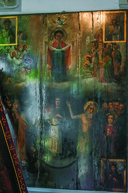 Старинная храмовая икона Покрова пресвятой Богородицы