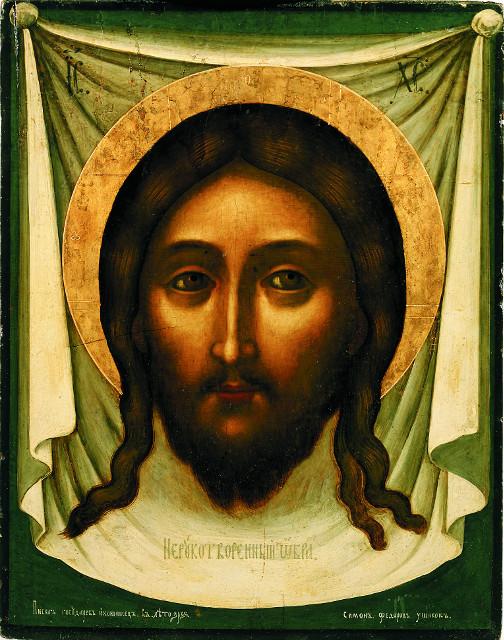 В образе Спаса Нерукотворного Ушаков раскрывает двуединую сущность Спасителя: Бога и Человека