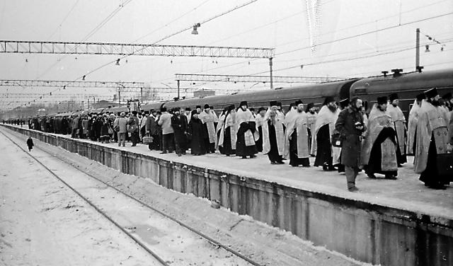 7 февраля 1991 года мощи  преподобного Серафима встречали  в Мсокве