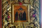 На иконе изображены святитель Николай Чудотворец, святая мученица Александра и святая мученица Матрона