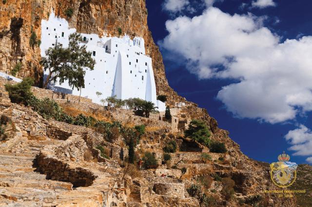 Скальный монастырь Панагии Хозовиотиссы на острове Аморгос