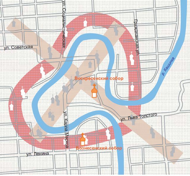 """Схема планировки центральной части города Кашина. в основе планировки - крест, вписанный в """"сердце"""", которое образует река"""