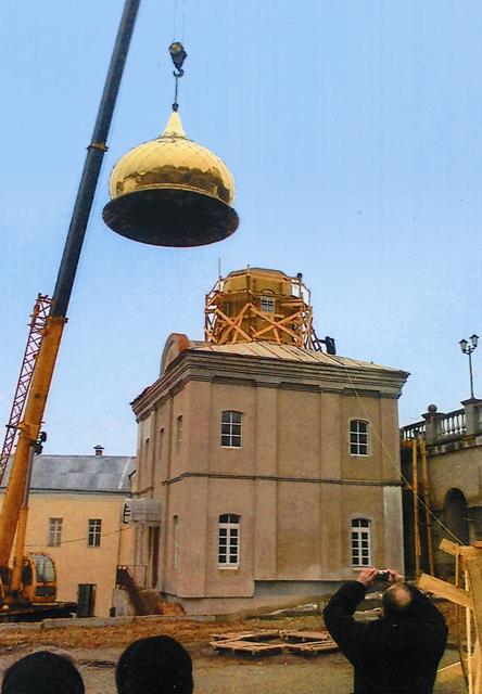 Установка купола на церковь Святого Духа