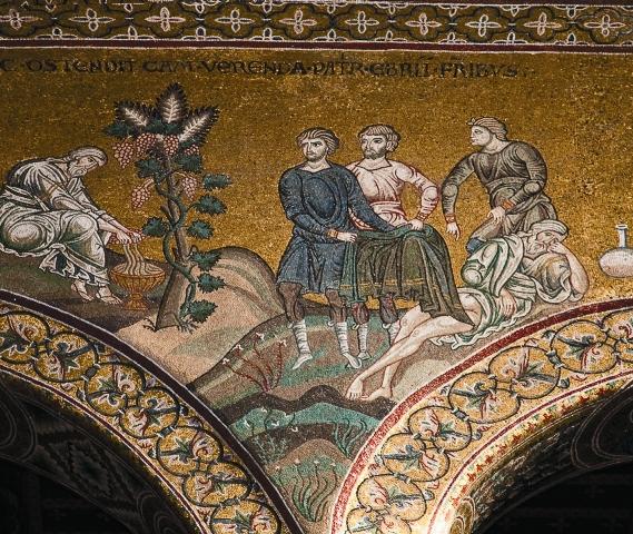 Росписи кафедрального Преображенского собора в Чефалу (середина XII века) принято считать продолжением монументальной мозаической традиции Софии Константинопольской