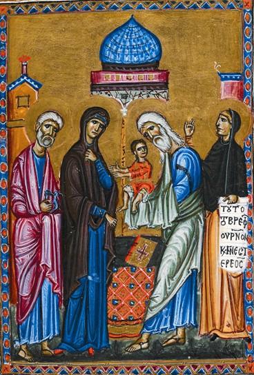 Икона послеиконоборческого периода. Младенца держит на руках святой Симеон Богоприимец
