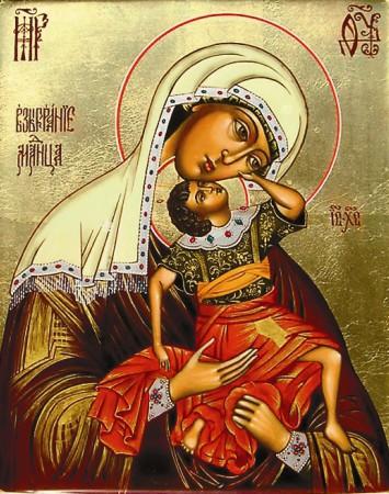 На горе Афон в Ватопедском монастыре хранится самый древний список иконы «Взыграние младенца»