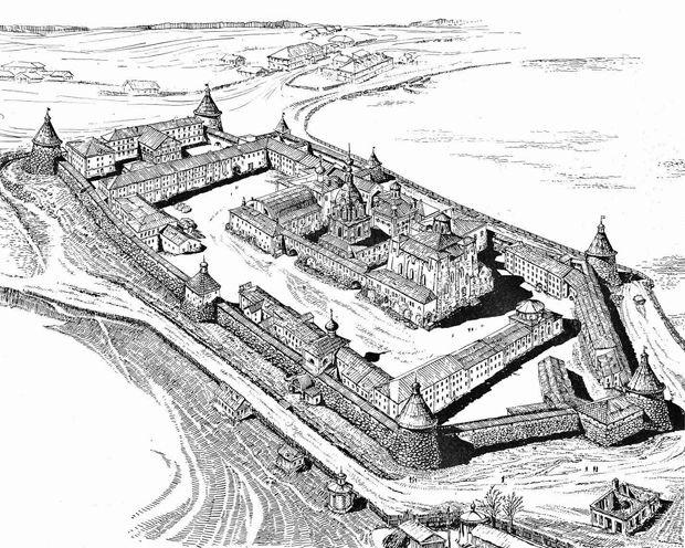Территория Соловецкого монастыря - это пятиугольник, вытянутый с севера на юг на перешейке между гаванью Благополучия и Святым озером