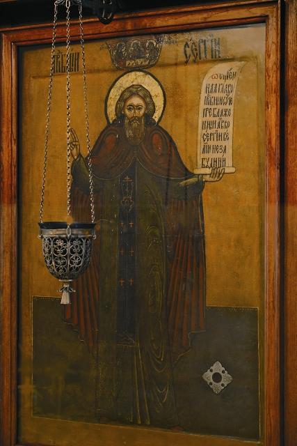 Икона прп. Сергия в храме в Крапивниках