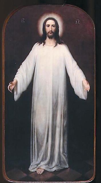 Икона «Спаситель в белом хитоне», напи- санная владыкой Серафимом, находится в храме святого пророка Илии Обыденного в Москве