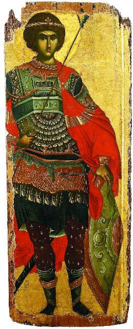 За стремление в любом сражении идти до конца Георгий был назван Победоносцем, поэтому на иконах он предстает перед нами в военных одеждах и с оружием в руках