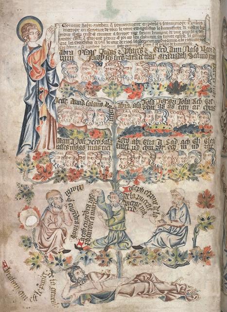 Евангелие от Матфея. Родословие Иисуса Христа. Англия, XIV век
