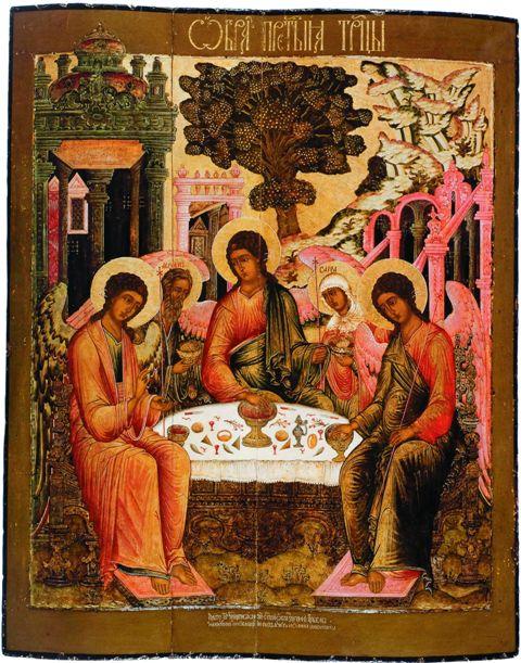 Бог Троица в виде трех Ангелов, Аврааам и Сарра. На заднем плане  Мамврийский дуб