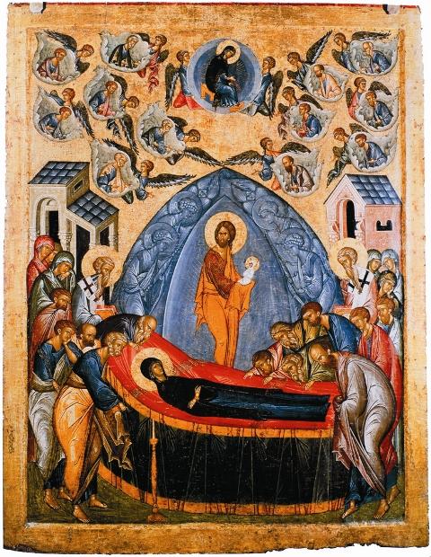 В третий день после погребения Божия Матерь воскресла и была взята с телом на Небо