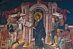 Иисус учит в синагоге Назарета. Фреска из монастыря Высокие Дечаны в Сербии